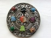 Celtic Jewelled Cross Brooch Pendant by Miracle (SOLD)
